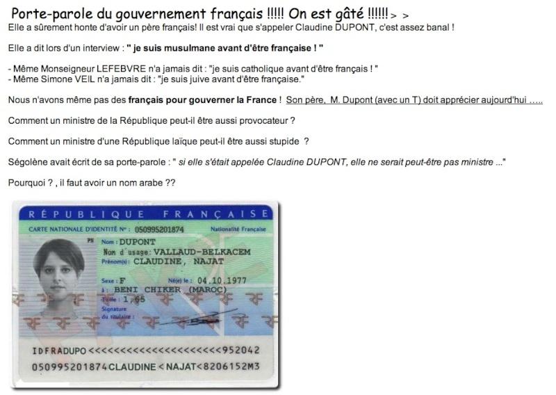 Je vous présente la porte parole du gouvernement: Claudine DUPONT  Dupont10