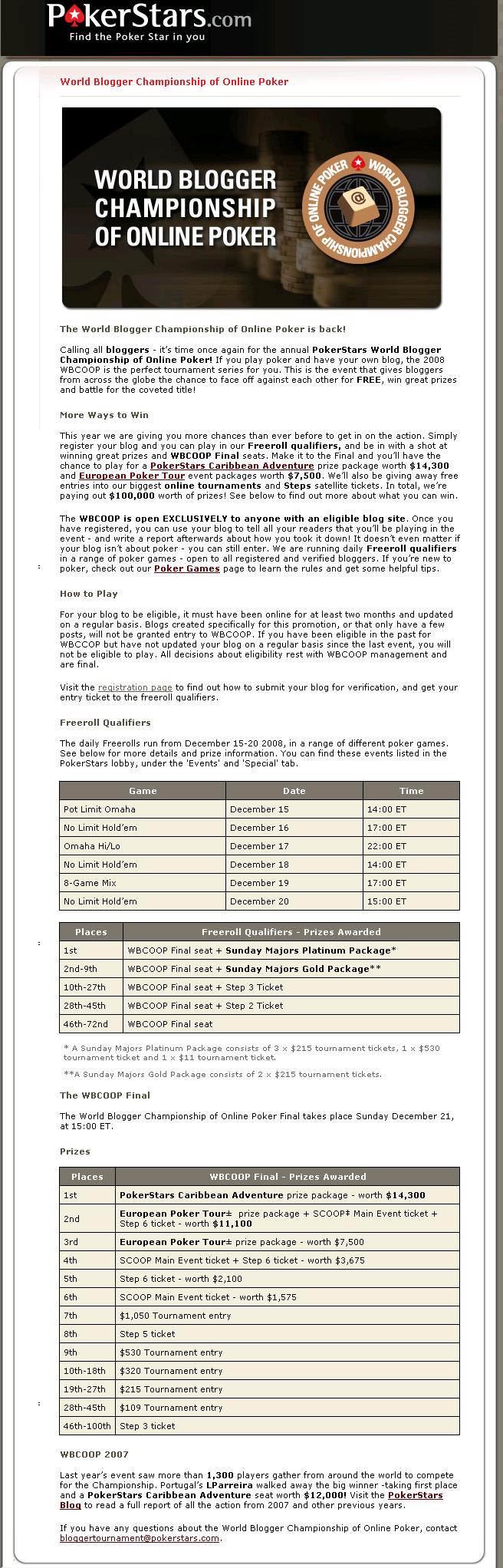 WBCOOP TOURNAMENT - WORLD BLOGGER CHAMPIONSHIP OF ONLINE POKER Registration Wbcoop10