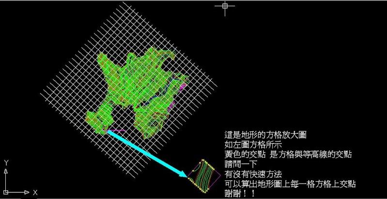 *<已解決>AutoCAD有沒有快速的方法能計算地形圖上小方格的交點? Uodidd12