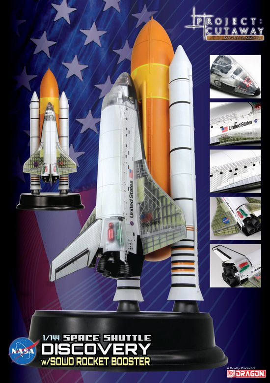 Space Shuttle Discovery cutaway w/solid rocket booster [ 1/144 Dragon] L_drp411