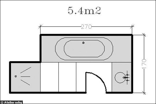 18 plans de salle de bains de moins de 11 m2 for Plan petite salle bain