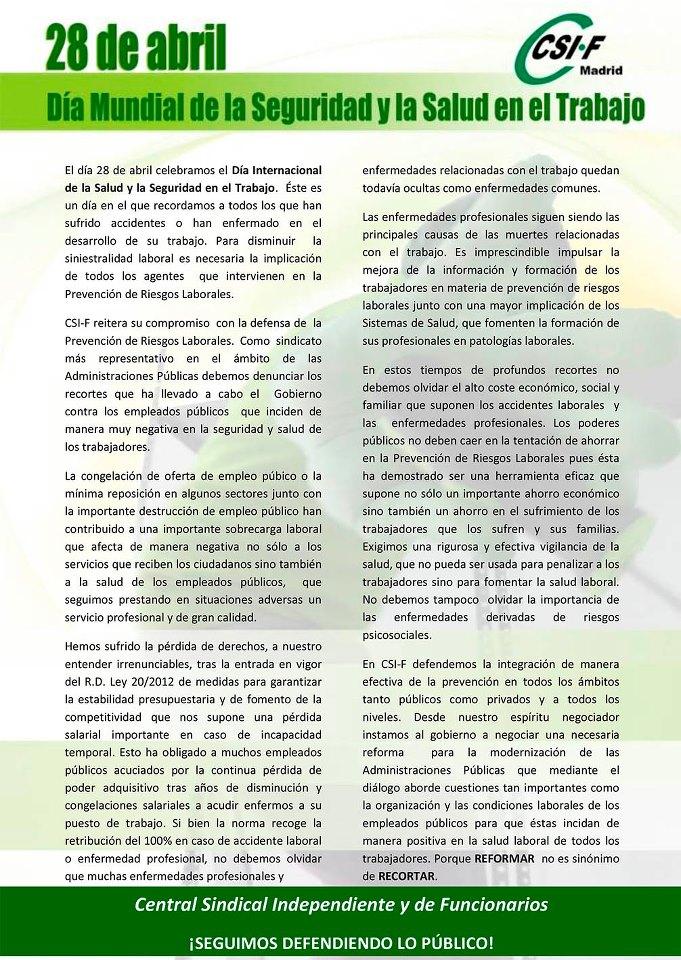 28 DE ABRIL. DÍA MUNDIAL DE LA SEGURIDAD Y SALUD EN EL TRABAJO Diamun11