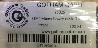 Gotham 85025 GPC 3x2.5mm Power cord  (new) 710
