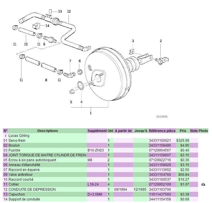 [ BMW E36 325 TD an 1995 ] tuyau circuit servo-frein Captur10
