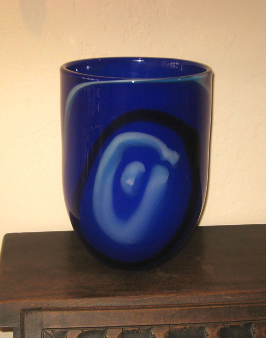 Blue Vase With Abstract Figure Kosta_11
