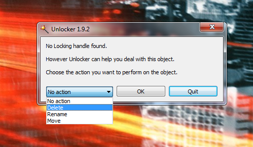 Unlocker (How to delete files/folders that system prevents you from deleting). Choose11