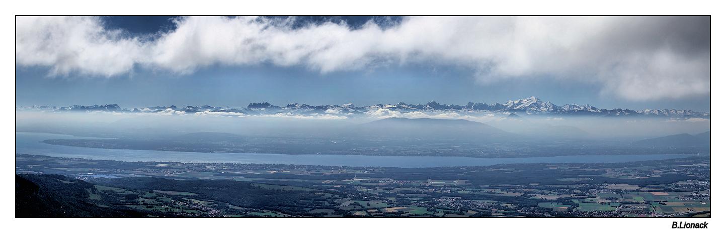 La chaîne du Mt Blanc vue du Jura Pano_m11