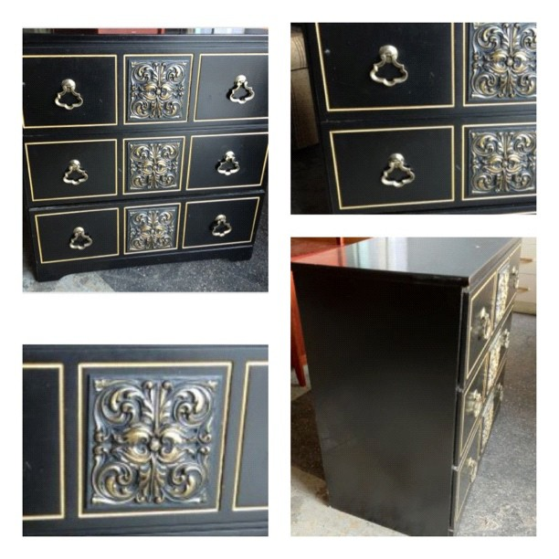 ID HELP = Id this 3 drwer Black Dresser ??? Draper - Mont - or who. Mydrap14
