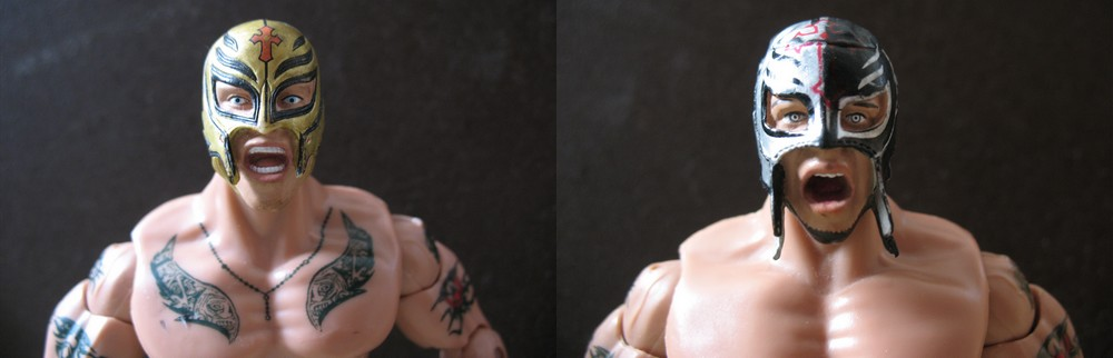Rey Mysterio Jakks ruthless aggression series 41 vs Rey Mysterio Jakks Road to WrestleMania 22 Series 2 Rey_0014