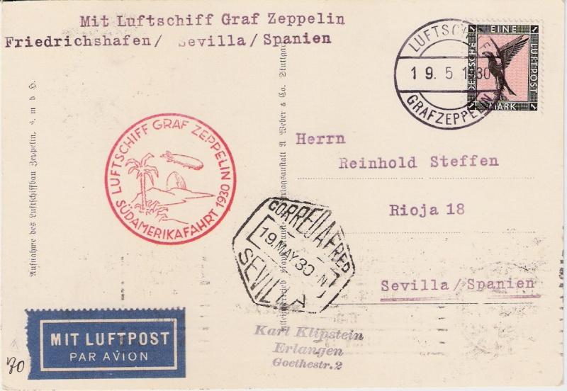 Südamerikafahrt 1930, Post nach Sevilla Sieger14