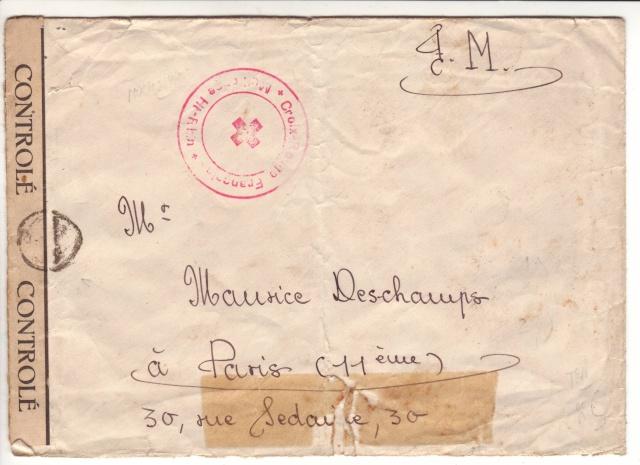 2° lettre avec cahet PTT A et cachet Croix Rouge de Mulhouse - en F.M. pour Paris. 1000710