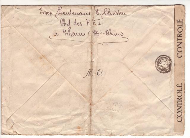 2° lettre avec cahet PTT A et cachet Croix Rouge de Mulhouse - en F.M. pour Paris. 2000510