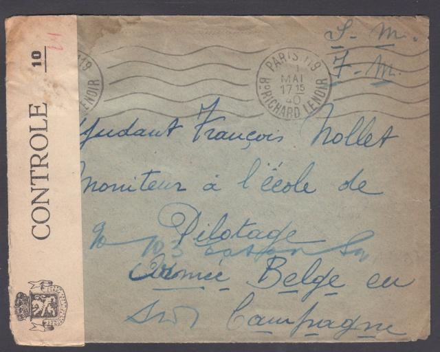 Lettre de Paris pour un moniteur de l'école de pilotage de l'Armée Belge en campagne. _1_00011