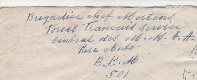Lettre oblitérée Rueil-Malmaison - expéditeur du B.P.M. 501 - pour Anvers en 1945. _6_00010