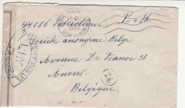 Lettre oblitérée Rueil-Malmaison - expéditeur du B.P.M. 501 - pour Anvers en 1945. _7_00010