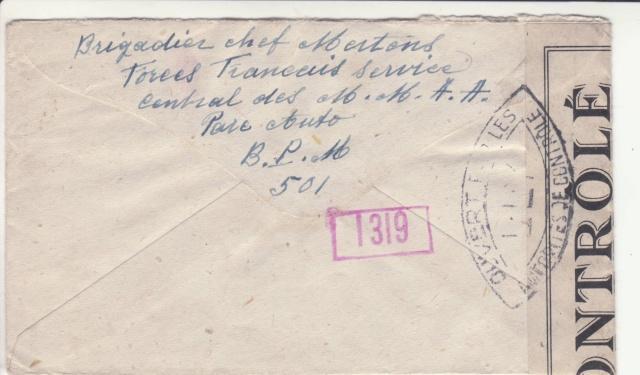 Lettre oblitérée Rueil-Malmaison - expéditeur du B.P.M. 501 - pour Anvers en 1945. _8_00011