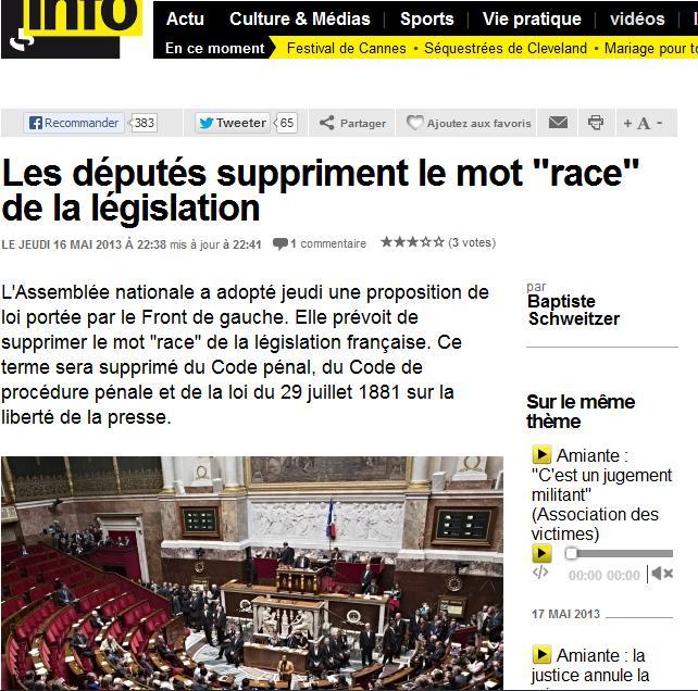 "suppression du mot : ""race"" Race10"