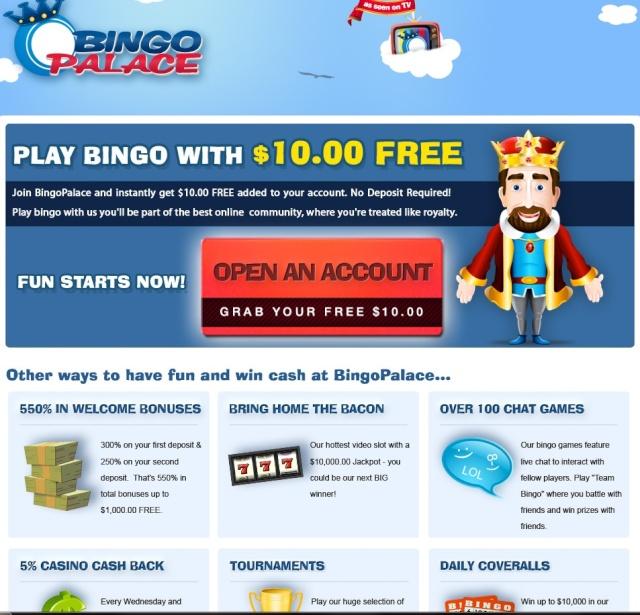Bingo Palace $10 No Deposit! Bingop10