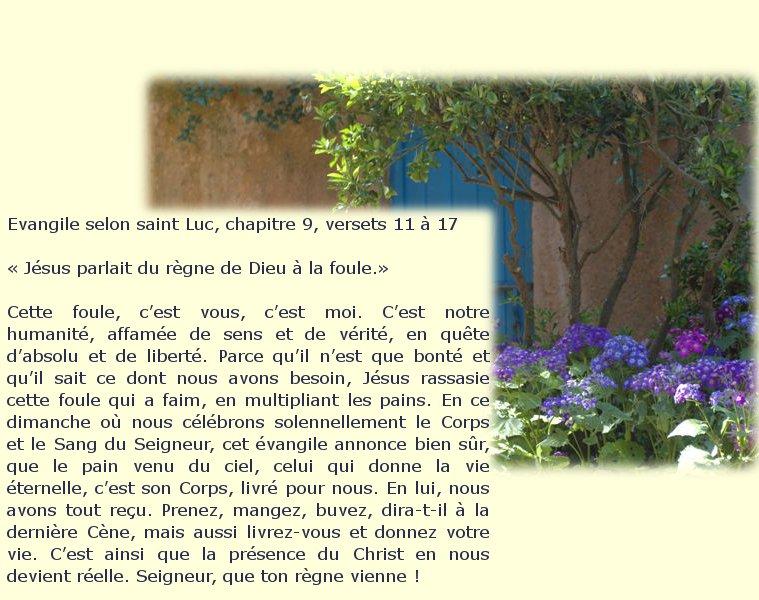 """2 juin 2013 """"Le Saint Sacrement Solennité du Seigneur """" Dimanc12"""