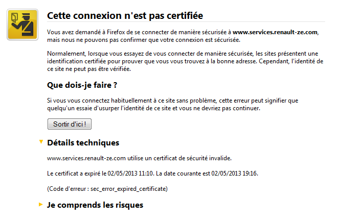 Connexion pas certifiée Nc10