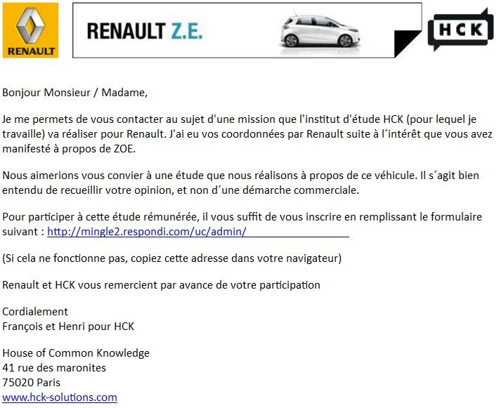 Sondage sur Zoé de la part de Renault Mail_r10