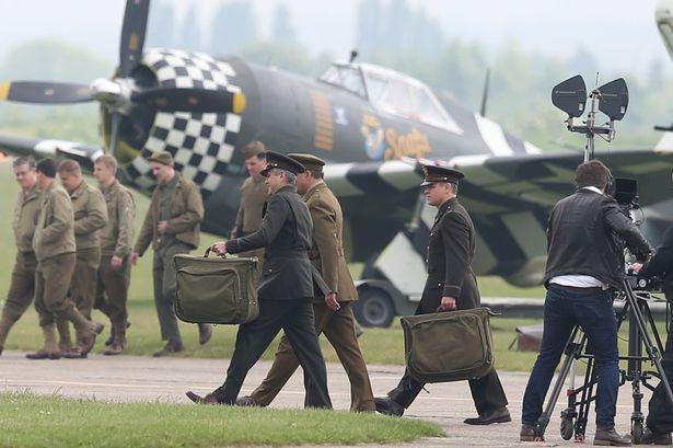 George Clooney filming at RAF/Imperial War Museum Duxford in Cambridgeshire George14