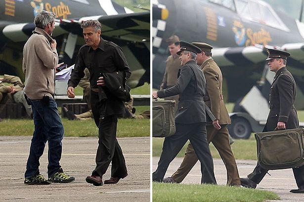 George Clooney filming at RAF/Imperial War Museum Duxford in Cambridgeshire George15