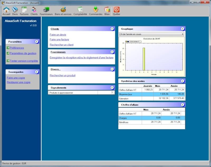 Télécharger AlauxSoft Facturation version gratuite pour petites entreprises Prod0711