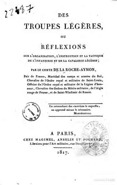 Des Troupes légères ou réflexions sur l'organisation… par de La Roche-Aymon Troupe10