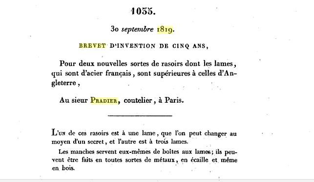 Monsieur PRADIER 1830, 22 rue Bourg l'Abbé Paris Brev10