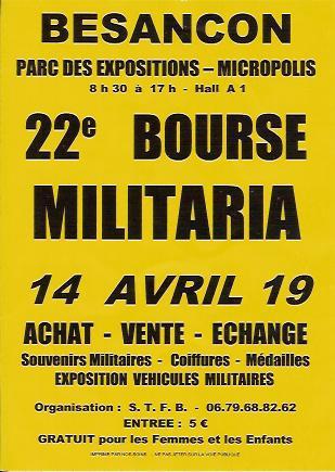 22e bourse militaria et souvenirs militaires, Dimanche 14 avril 2019 - BESANCON - Doubs (25) Docume12