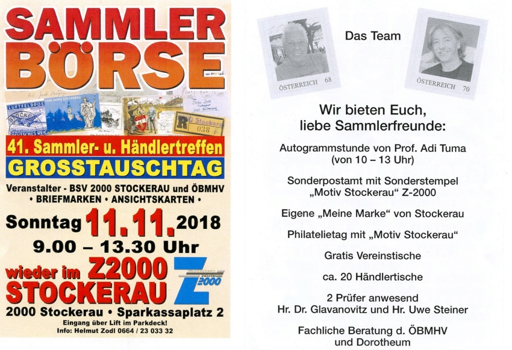 41. SAMMLERTREFFEN - 11.NOVEMBER 2018 STOCKERAU Plakat10
