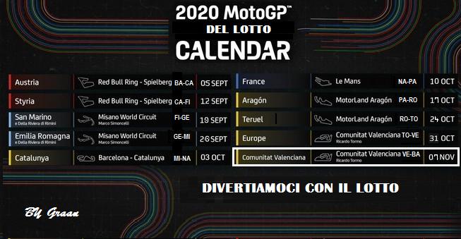 Gara Motogp del Lotto 2020 dal 03 al 07.11.2020 ULTIMA SETTIMANA Calend21