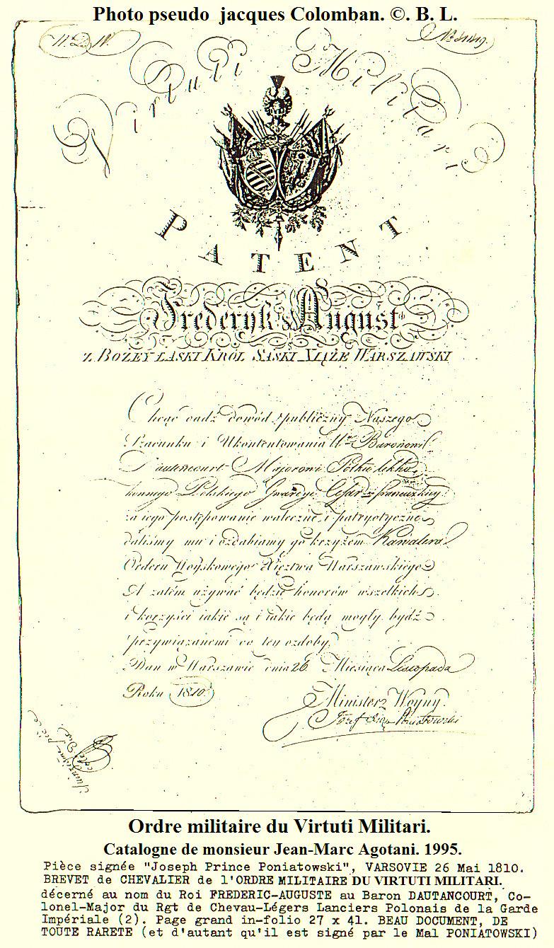 Les généraux de Napoléon 1er décorés des ordres Polonais. Brevet10