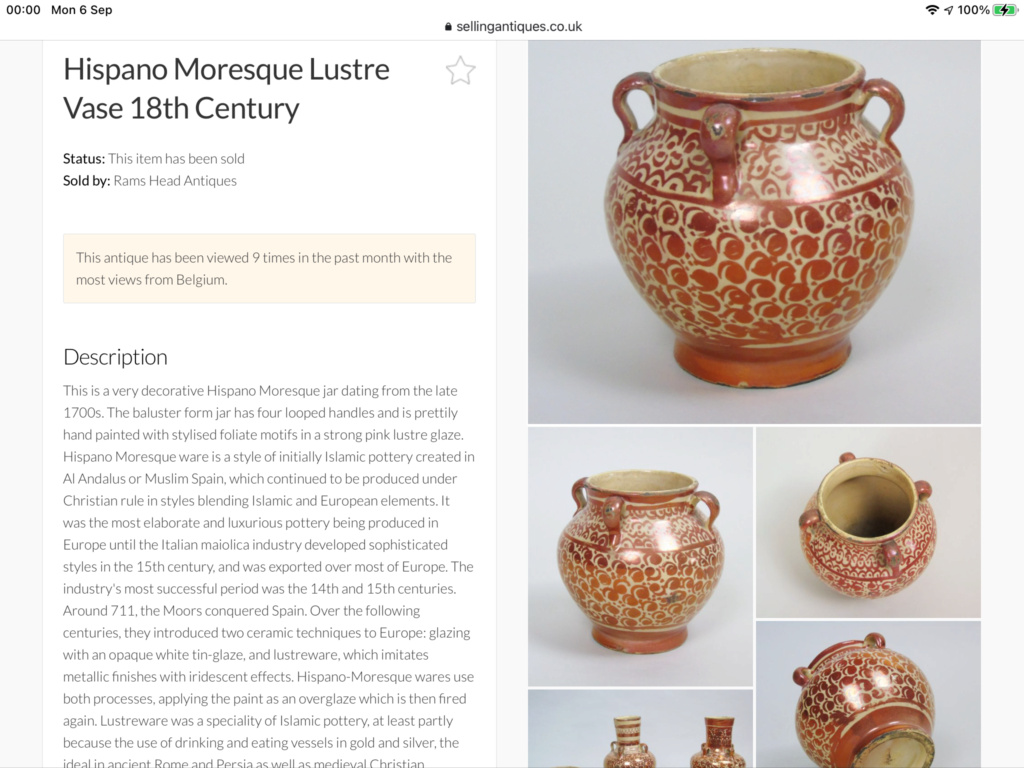 Earthenware pot with lustre decoration - Hispano-Moresque, Spain 39b1ae10