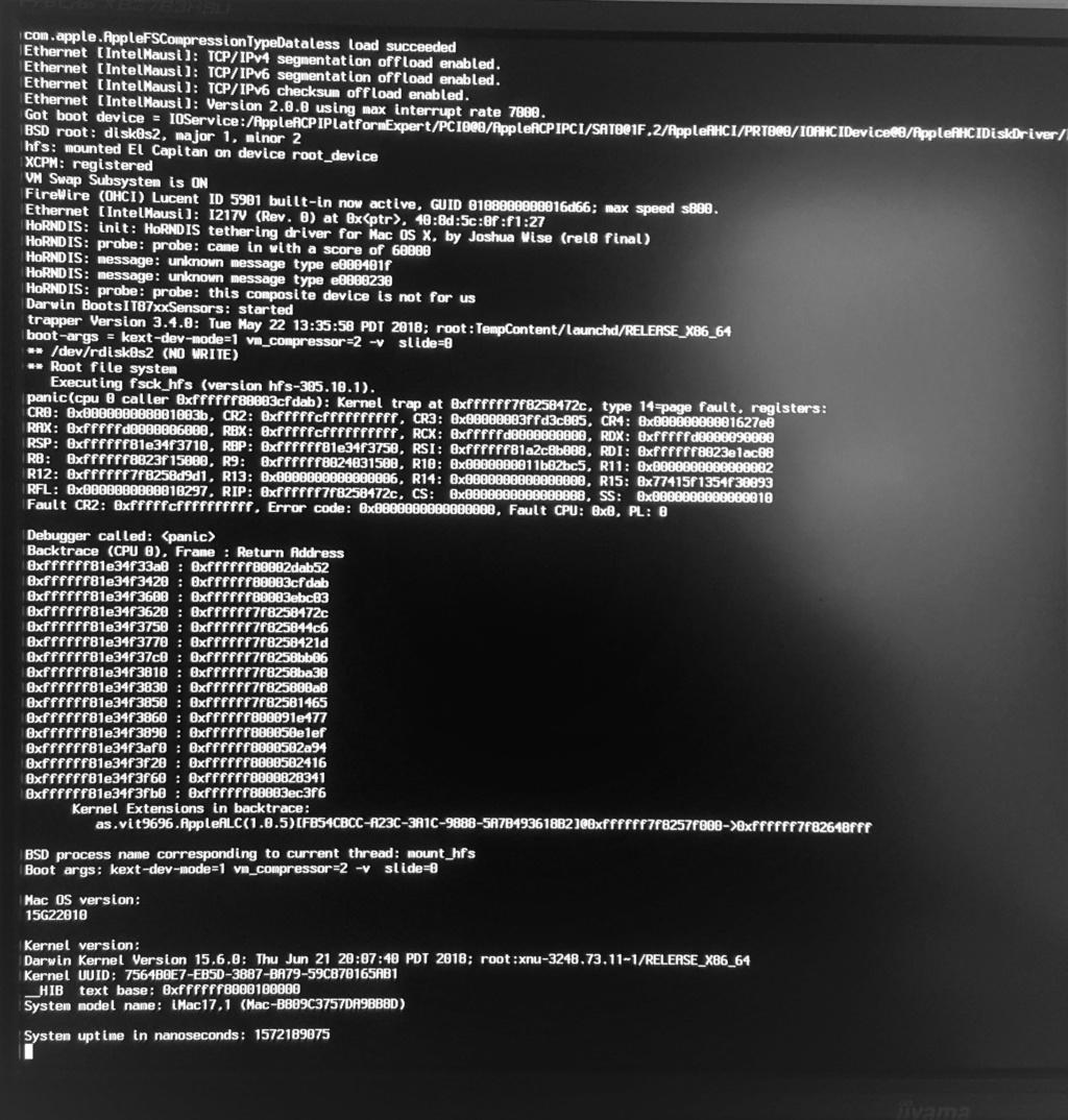 Boot impossible après MAJ sécurité pour elcapitan 20180711