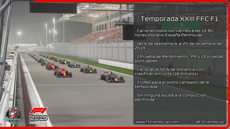 | F1 19 T.XXIII | INFORMACIÓN, INSCRIPCIONES Y FORMACIÓN DE EQUIPOS TEMPORADA XXIII CATEGORÍA F1 Presen12