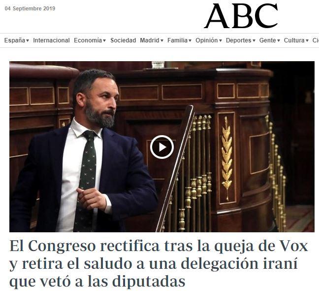 El Congreso suspende el saludo a una delegación de Irán tras denunciar Vox que las mujeres que no podían dar la mano a los hombres Abc10