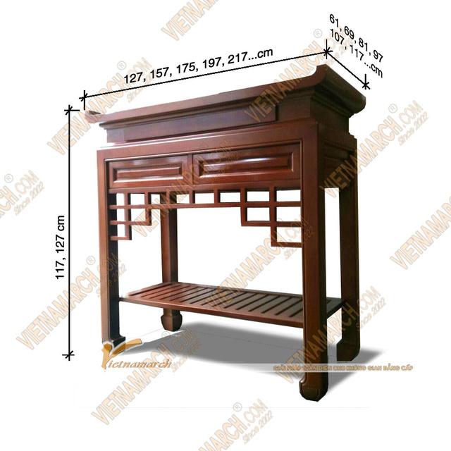 Sản phẩm cần bán: Mẫu bàn thờ đẹp đặt đóng theo kích thước lỗ ban chuẩn phong thủy Kich-t10