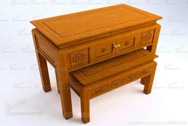 Sản phẩm cần bán: Mẫu bàn thờ đẹp đặt đóng theo kích thước lỗ ban chuẩn phong thủy Mau-ba12
