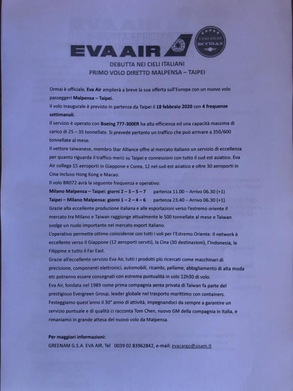 EVA Air apre MXP - rinviato al 18.5.20 6e38e110