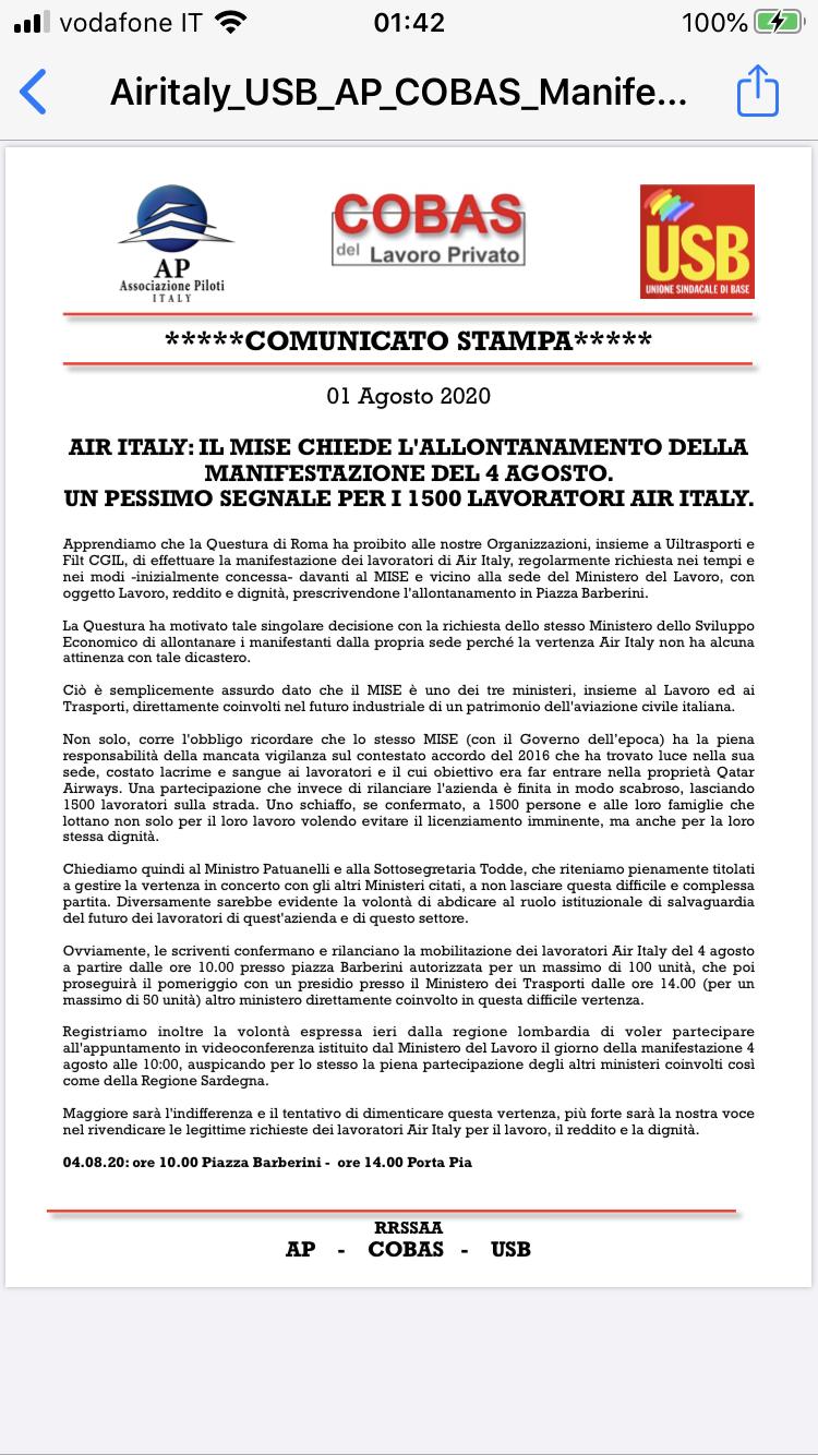 AirItaly: i licenziamenti e la chiusura (da Mar20) - Pagina 3 B3da0e10