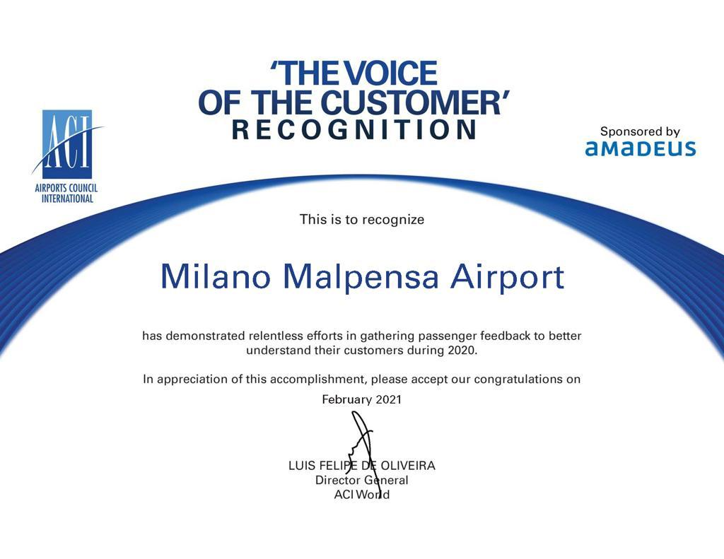 "MXP insignito da ACI ""the voice of the customer"" B8c8ba10"
