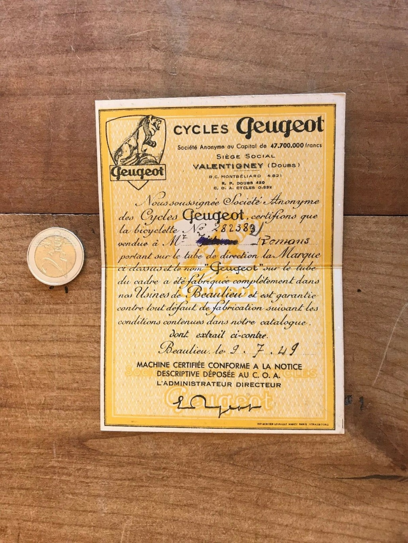 Certificat d'achat vélo Peugeot S-l16010