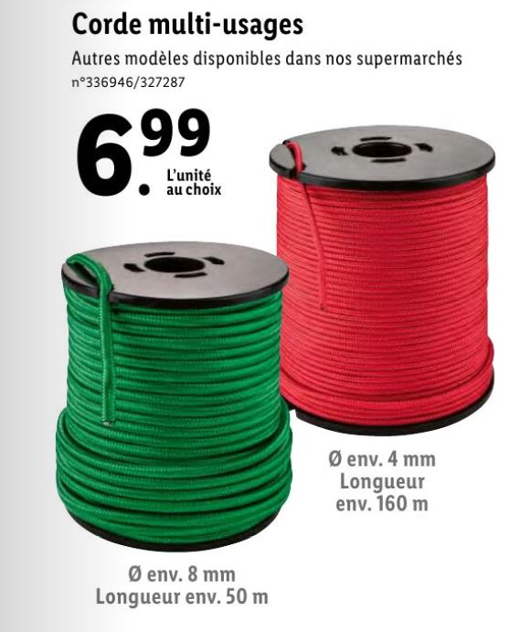 Corde de 4 à 8 mm (160 m à 50 m de longueur suivant le diamètre) à 6,99 € Corde10