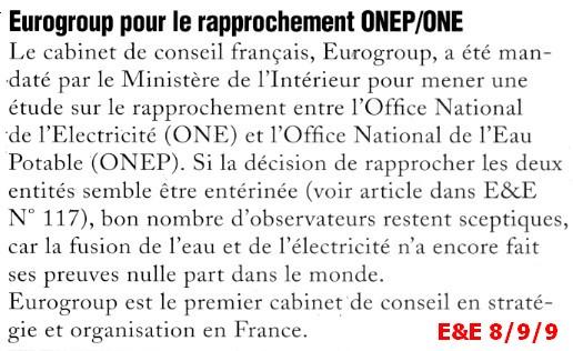 projet de loi pour la fusion de l'ONE et l'ONEP Europr10