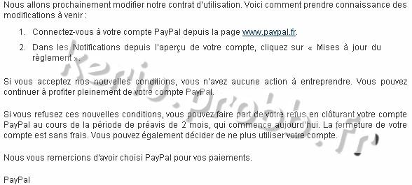 Notification de modifications du contrat d'utilisation de PayPal Paypal10