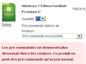Windows 7 tout a été précommandé Seven11