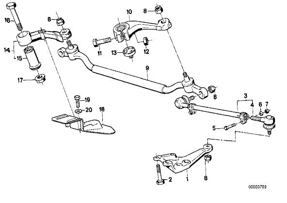 [E34 M30 92]réglage bielette de direction 410