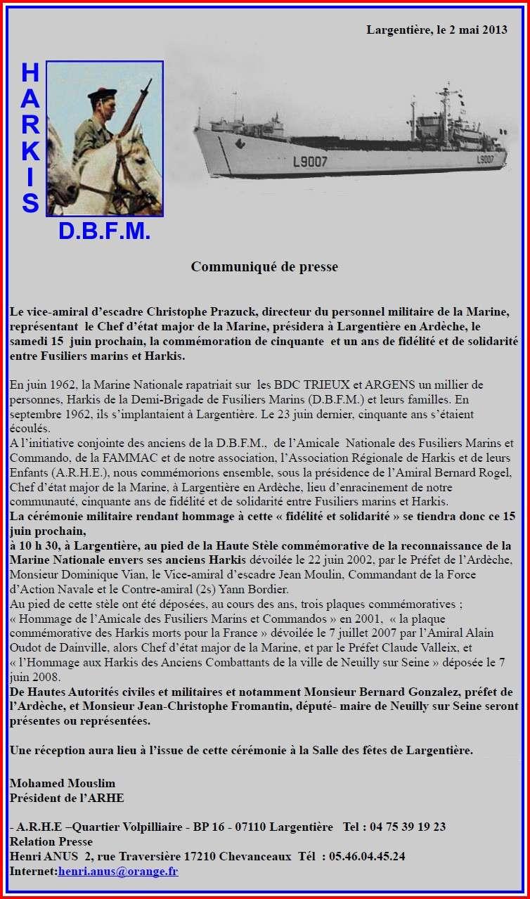 Commémoration le 15 juin 2013 de cinquante et un ans de fidélité et de solidarité entre Fusiliers marins et Harkis 2_text11